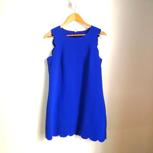 J. CREW Cobalt Blue Scalloped Scuba Mini Dress